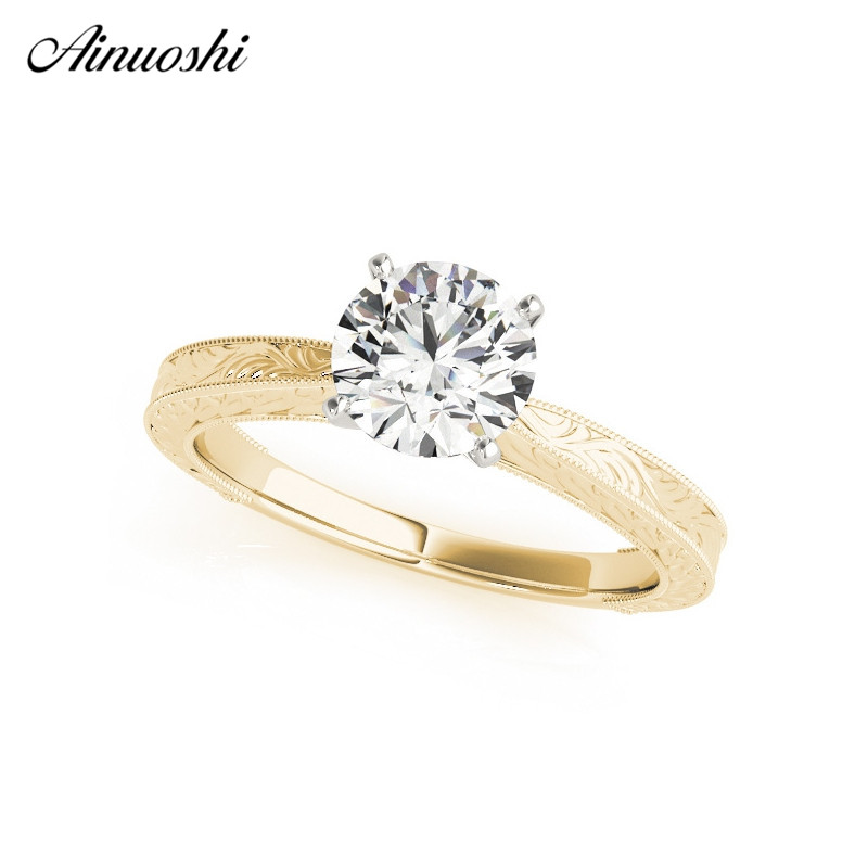 925 Sterling Silver Yellow Gold Color Round Cut Solitaire Bridal Rings Lady Engagement Anniversary Silver Ring Jewelry
