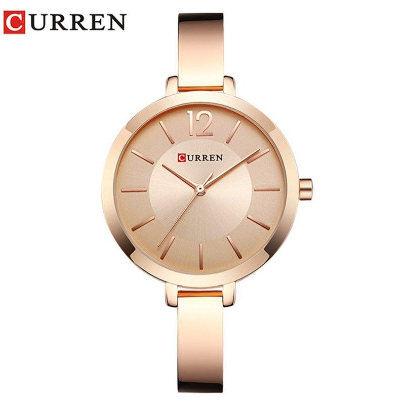0264096cdd8 Mulheres Relógios de Ouro Da Moda CURREN 9012 Aço Inoxidável Ultra fino  Relógio de Quartzo Mulher Relógios Montre Femme Relógio Romântico das  Mulheres