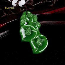 KYSZDL  Natural green stone carving orchid pendants fashion lady necklace sweater chain pendant jewelry gifts