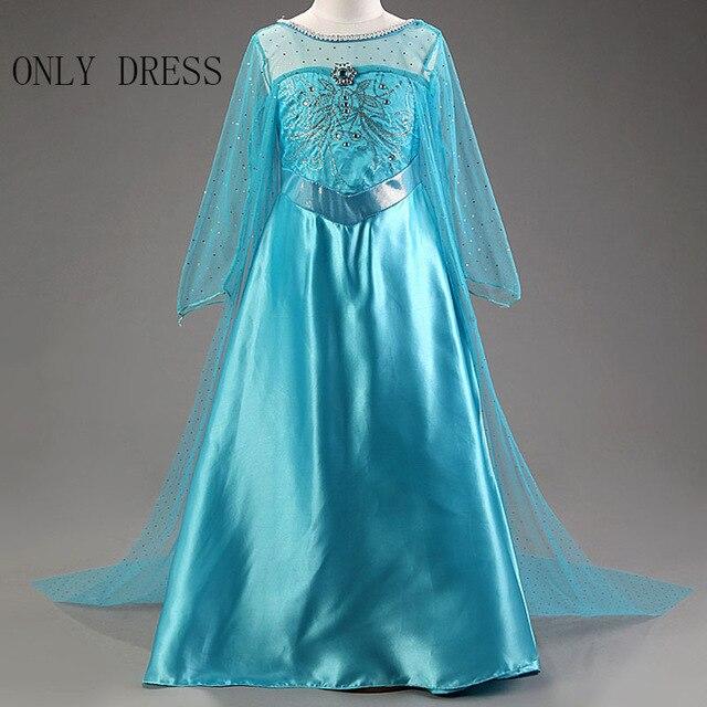 Платье Эльзы для девочек; Новинка; костюмы Снежной Королевы для детей; платья для костюмированной вечеринки; платье принцессы; disfraz carnaval vestido de festa infantil congelados - Цвет: elsa dress C