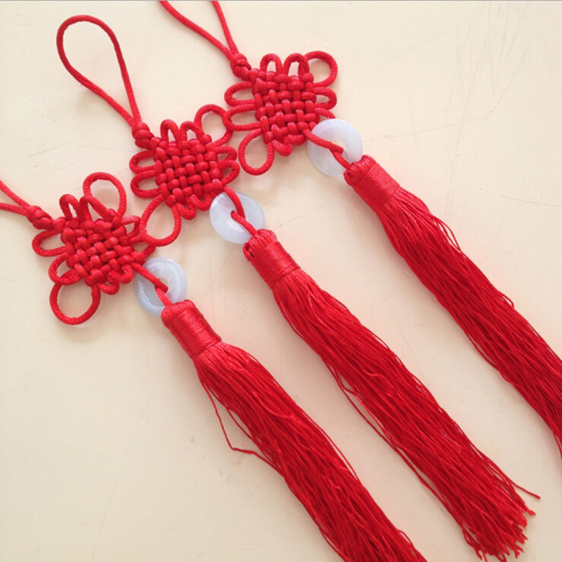 Plush Keychains Chinese Knot Tassel Fringe Chinese Arts And Crafts Plastic Jade Tassels Decoration Pendant Gift Present Home Decor 22cm