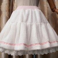 חורף Harajuku חמוד לוליטה חצאית קפלים נשים הלבשה גבוהה מותן קטיפה לבנה תחרה מתוקה שכבה רך ילדה מורי חצאית מיני U318