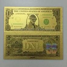 10 шт./партия США 1 доллар золотая фольга банкноты бумажные коллекции денежных знаков художественный подарок