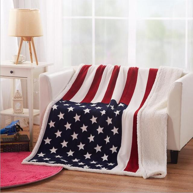 Blanket Coral Fleece American Flag Blanket Throws On Sofa/Bed/Plane Travel  Big Size