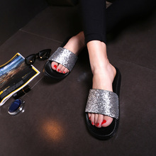 Women Slippers Summer Beach Sandals Flat Bling Fashion Shoes Casual Platform Slides