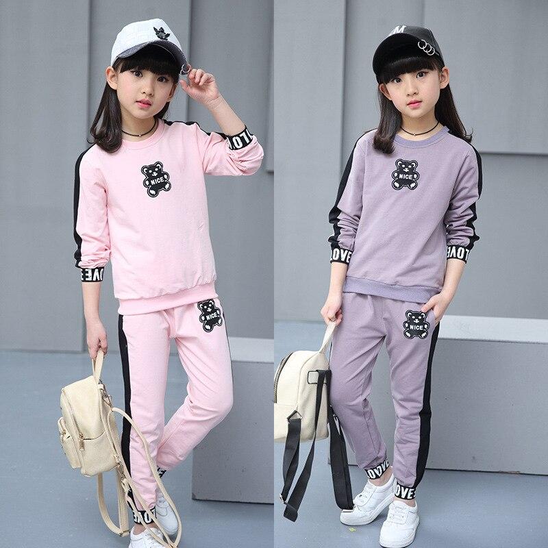 Kids girls spring / autumn 2 pcs sets 2017 new baby girl clothing fashion bear big child set 3/4/5/6/7/8/9/10/11/12/13/14