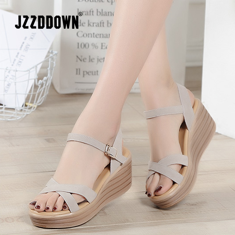 c4cca8d06caa Sandals shoes Women Genuine Leather ladies summer Beach Sandals 2018 Flat  Casual Flip Flop Wedge gladiator