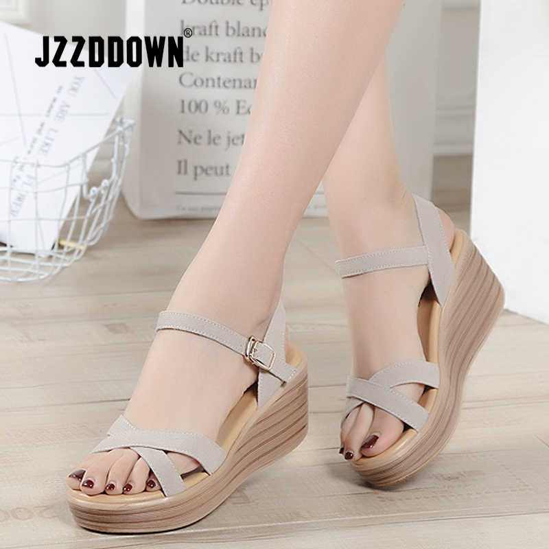 ea58154a8 Sandals shoes Women Genuine Leather ladies summer Beach Sandals 2018 Flat  Casual Flip Flop Wedge gladiator
