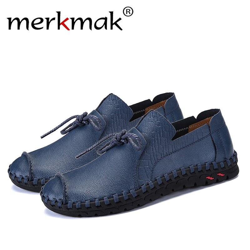 Merkmak estilo británico Casual hombres zapatos mocasines primavera Otoño de cuero genuino deslizamiento en los planos de los hombres calzado más tamaño 38 -49 zapatos