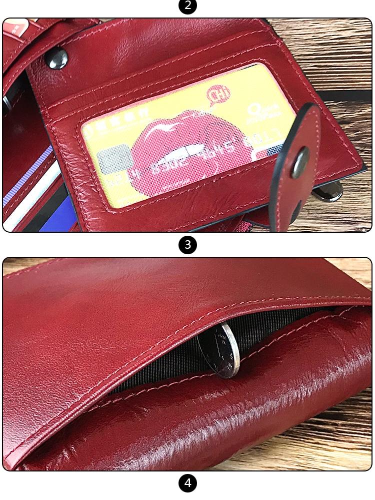 Vintage Ladies Small Genuine Leather Red Wallet
