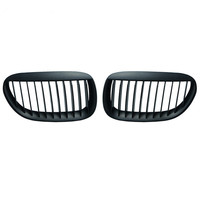 1 Pair For BMW 6 Series E63 2004 2010 Matte Black M Color Front Kidney Car Racing Grill Grille Bumper Single Line Car styling