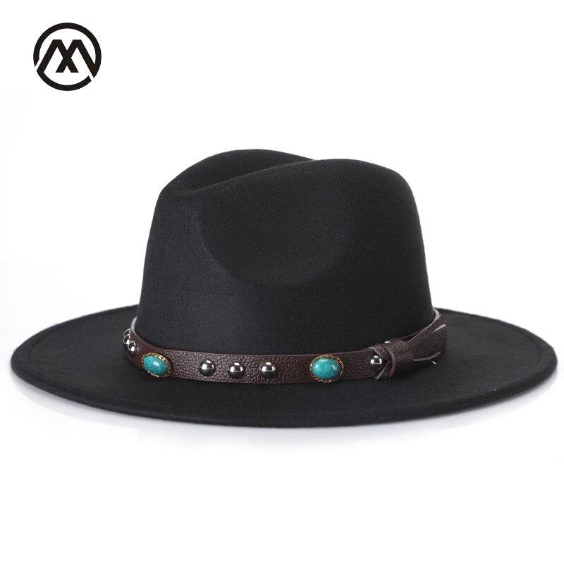 Marca Wide Brim Hat Fedora Donne Degli Uomini Dell'annata di Jazz Cappelli Stelle della Moda di Lana cappello di feltro Unisex Nero Feltro Bowler Trilby fedora chapeu