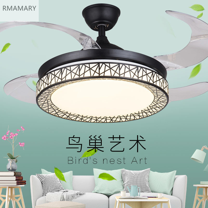 Free Shipping Bird's Nest White Ceiling Fan Lights Fixtures Remote Control Good-Quality Invisible Fan Light 220V 36/42inch(China)