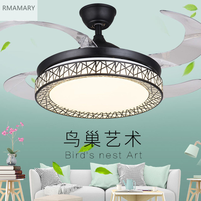 Free Shipping Bird's Nest White Ceiling Fan Lights Fixtures Remote Control Good-Quality Invisible Fan Light 220V 36/42inch