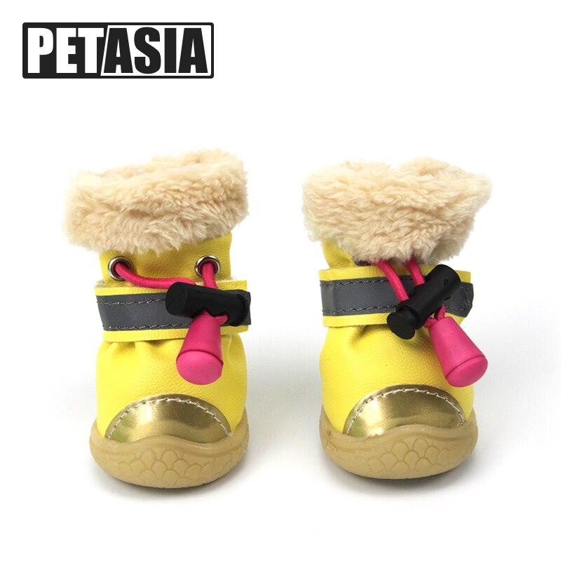 Winter font b Pet b font Dog Shoes Light Reflection Strip Waterproof Dogs Boots Warm Rubber