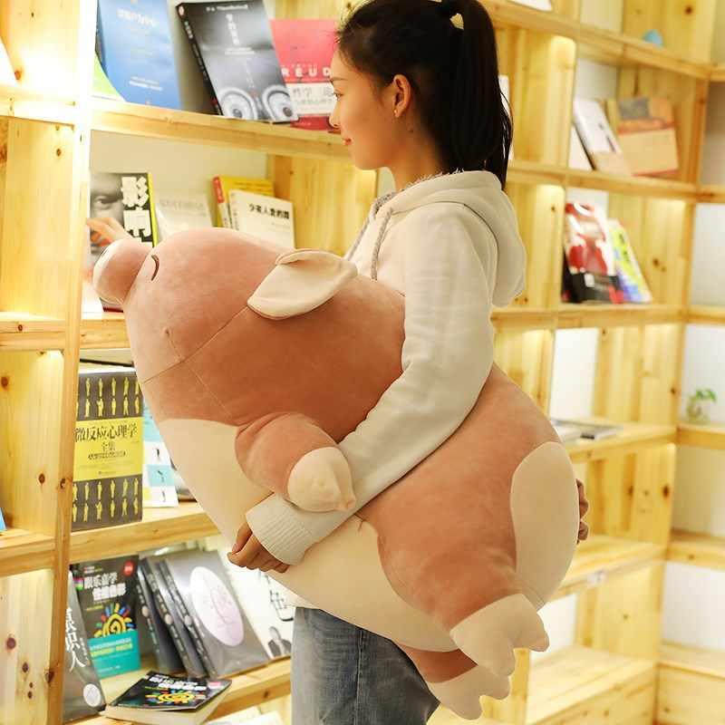 """40-80 ס""""מ מחייך חזיר ממולא בפלאש צעצוע יום הולדת בובות חזיר גדול כרית ספה שינה רכה חזיר חמוד מחייך מתנה עבור בנות פנים"""