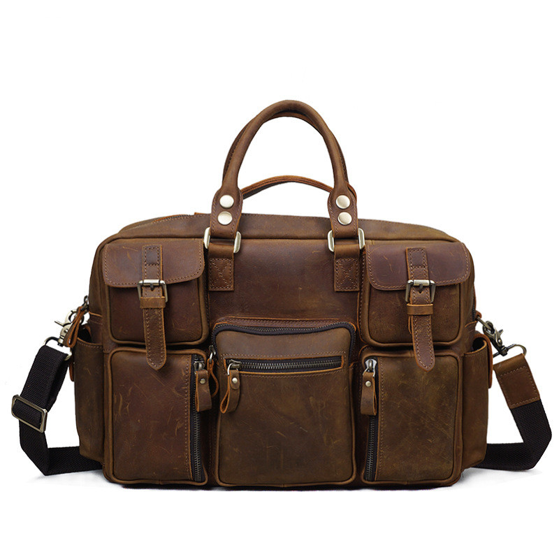 Men's Tote Bag Vintage Crazy Horse Leather Men's Bag Travel Tote Bag Shoulder Messenger Large Capacity Bag