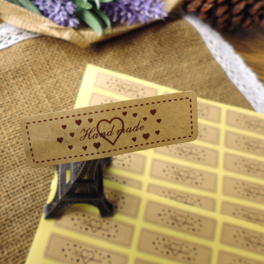 Купить с кэшбэком 150pcs/lot 'Hand made' With Heart Kraft Paper Sealing Stickers Handmade Product Decorative Sticker Package Label For DIY Gift