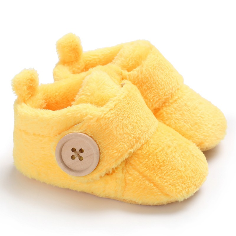 WEIXINBUY Infant Shoes Baby Boy Girl Candy Color Button Winter Baby Warm Mocassins First Walkers