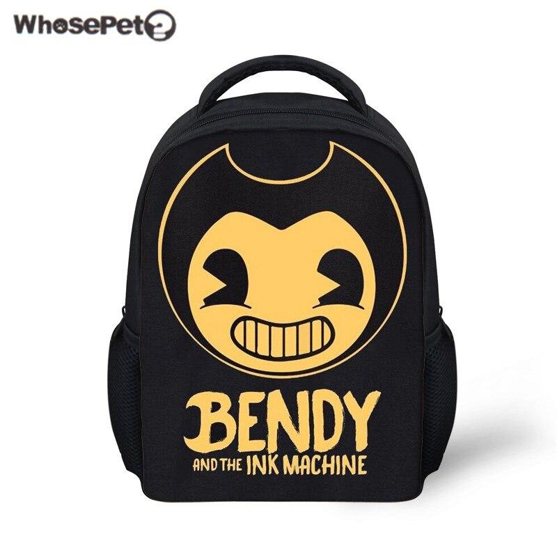 WHOSEPET Kids School Bag Bendy and The Ink Machine Mini Schoolbag for Children Kindergarten Bookbag 12 Inch Backpack Mochila New