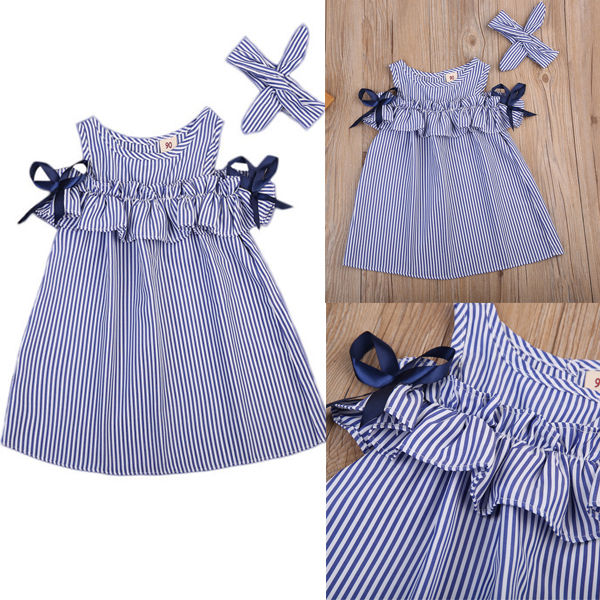 Toddler Kids Baby Girls Dress Summer Clothes Striped Off-shoulder Party Gown Formal Dress Bow Headband 3
