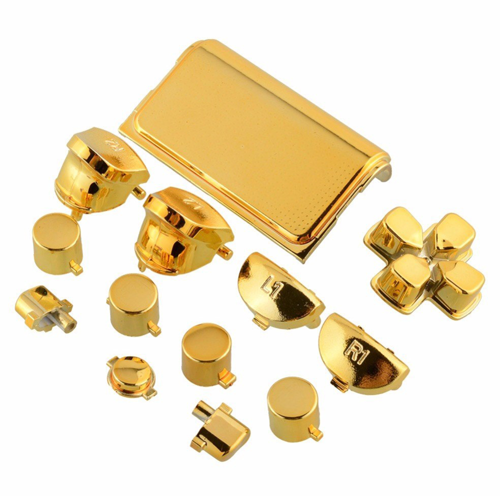 13 Pcs Bullet Button Thumbstick Cap Metal  Plating Gold For PS4 Dualshock 4 Pro Controller