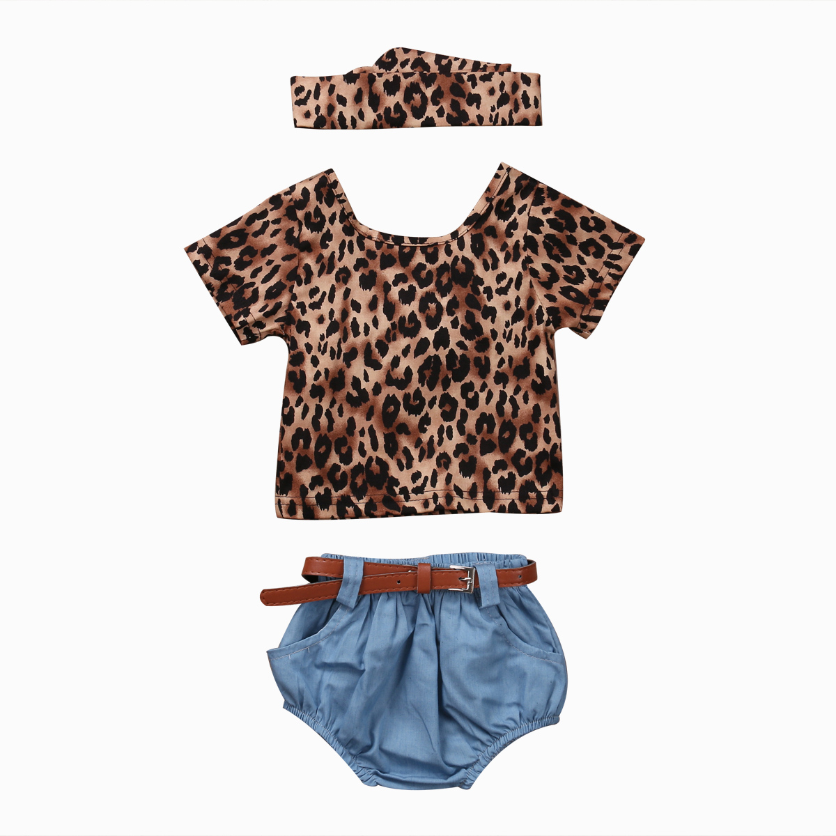 3pcs Sets Newborn Baby Girls Clothes Leopard Short Sleeve T-Shirt+Denim Shorts+Headhand Summer Toddler Girls Fashion Sunsuits