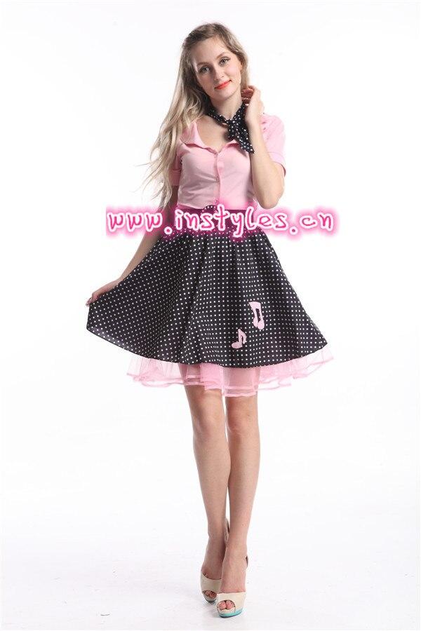 1950s Grease Rock N Roll Bopper Fancy Dress Costume Plus Size XXL-6XL