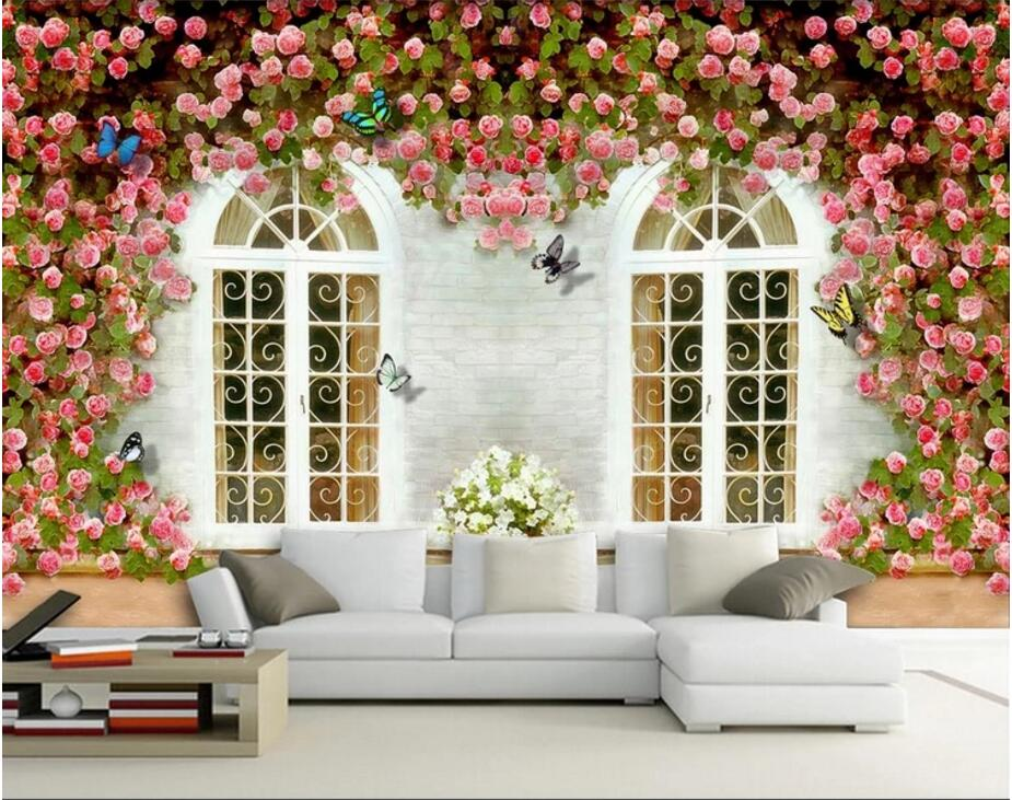 3d wall murals wallpaper for walls 3 d photo wallpaper European architecture rose flower butterfly TV backdrop wall painting custom photo 3d ceiling murals wall paper european spelling a flower room decor painting 3d wall murals wallpaper for walls 3 d