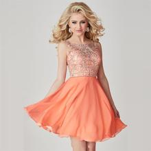 2016 kurze Heimkehr Kleid Mit Perlen Appliques Eine Linie Chiffon Sexy Open Back. Orange Kurz Graduation Abendkleid Party