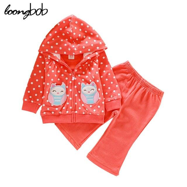 Новый девочка набор bebe осень полька мультфильм 2 шт. набор футболка + брюки костюм детей случайный набор детской одежды наборы 189A