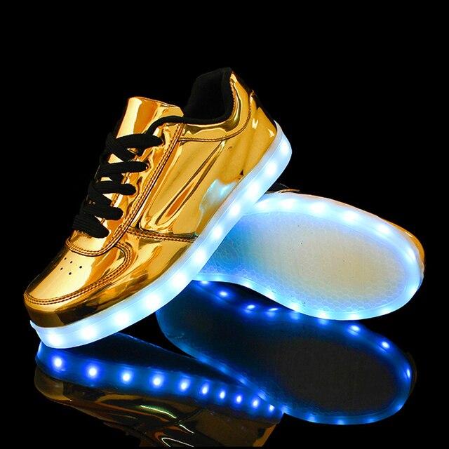 De los hombres de Colores brillantes zapatos casuales con ilumina famale led luminoso zapatos masculinos zapatos para adultos neón led cesta de gran tamaño 35-46