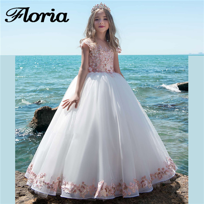 2018 New Pink Flower Girl Dresses Sleeveless Ball Gown Pageant Gowns For Weddings First Communion Dresses For Girls Vestidos