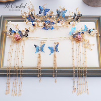 PEORCHID Blue Butterfly Chinese Hairpins Women Gold Traditional Bridal Hair Accessories Flower Headpiece Wedding Crown Tiara