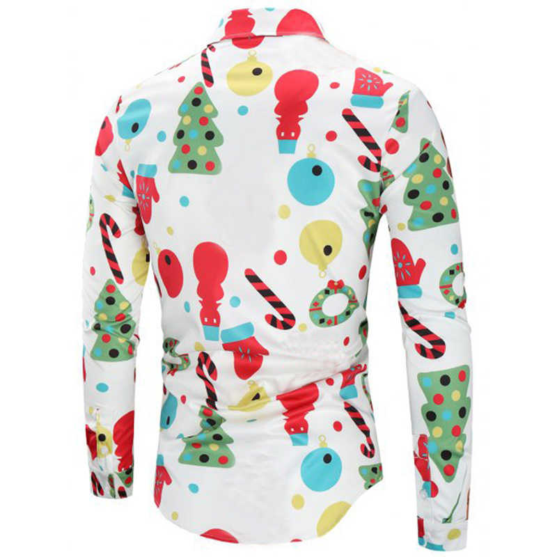 c60abc9d58d ... Merry Christmas Party Shirt Men 2018 Xmas Candy Cane Gloves 3D Print  White Dress Shirt Men ...