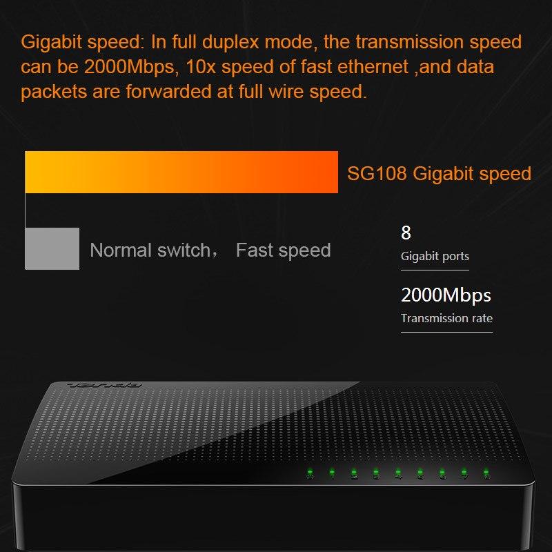 Tenda SG108 Gigabit Mini 8-Poort Desktop Switch Fast Ethernet Network Switch Lan Hub RJ45 Ethernet En Switching Hub shunt 2