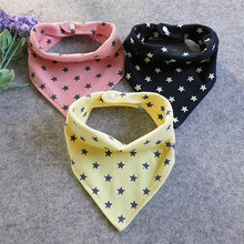 Cute Bandana Shaped Stars Patterned Cotton Bib