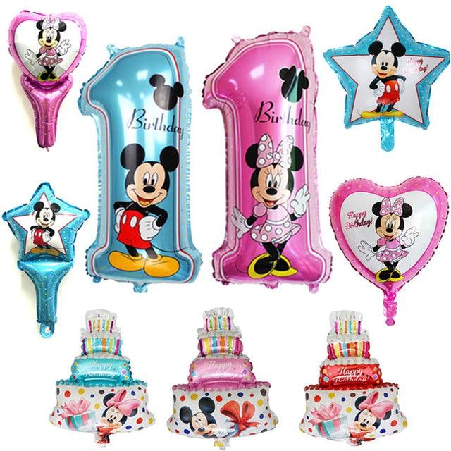 1psc/lot todo o estilo mickey minnie balão de hélio balões de festa de aniversário para o aniversário do bebê decoração suprimentos balão de ar