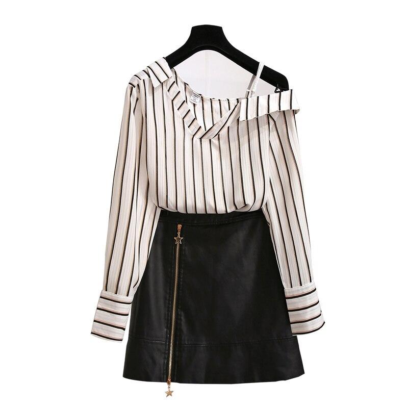 Femmes costume 2018 automne nouveau port de mode, à manches longues robe rayée, cool femmes tenue, épaule chemise, jupe, deux pièces femme