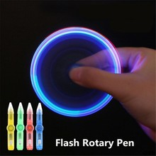 Drop Schip & Groothandel LED Spinning Pen Balpen Fidget Spinner Hand Top Glow In Donker Licht EDC Stress Relief speelgoed APR28(China)