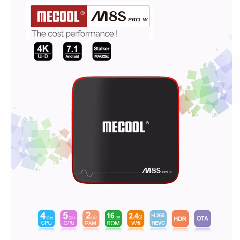 MECOOL M8S PRO W Android 7.1 TV Box 2G RAM 16G ROM Amlogic S905W CPU Mali-450 Support 2.4GHz WiFi 4K H.265 Set-top Box