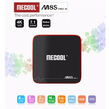 MECOOL M8S W PRO Android 7,1 TV Box 2G RAM 16G ROM Amlogic S905W CPU Malí-450 soporte 2,4 GHz WiFi 4 K H.265 Set-top Box