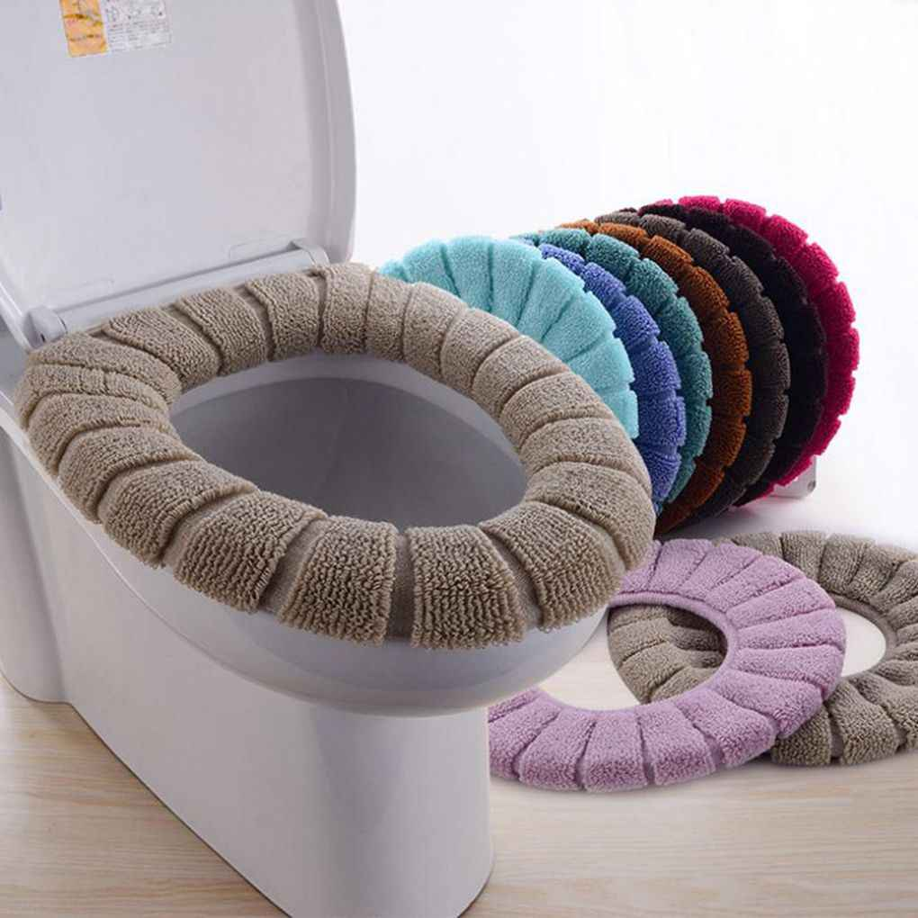Bathroom Toilet Seat Cover Washable Closestool Standard Pumpkin Pattern Soft Toilet Cushion Random Color
