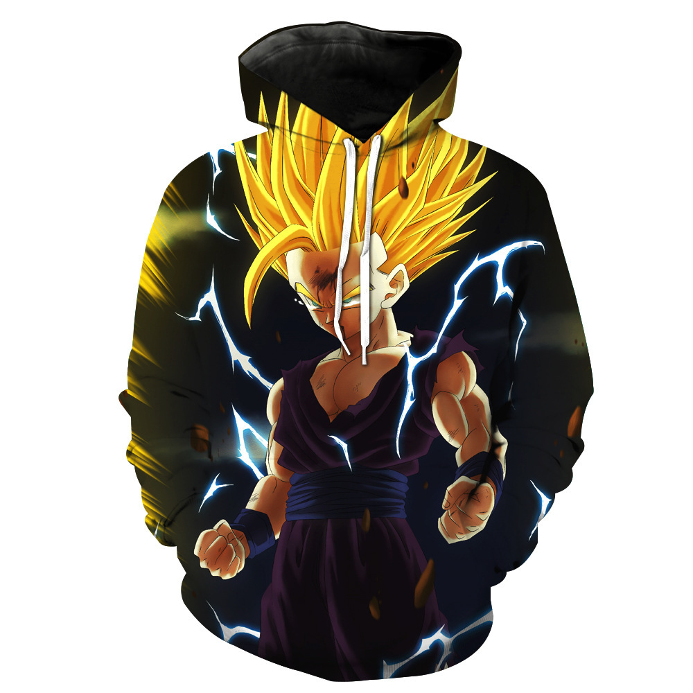 Sondirane New Fashion 3D Cool Cartoon Print Cap Pocket Hoodies Dragon Ball Z Goku Graphic Pullovers Casual Hip Hop Sweat Tops