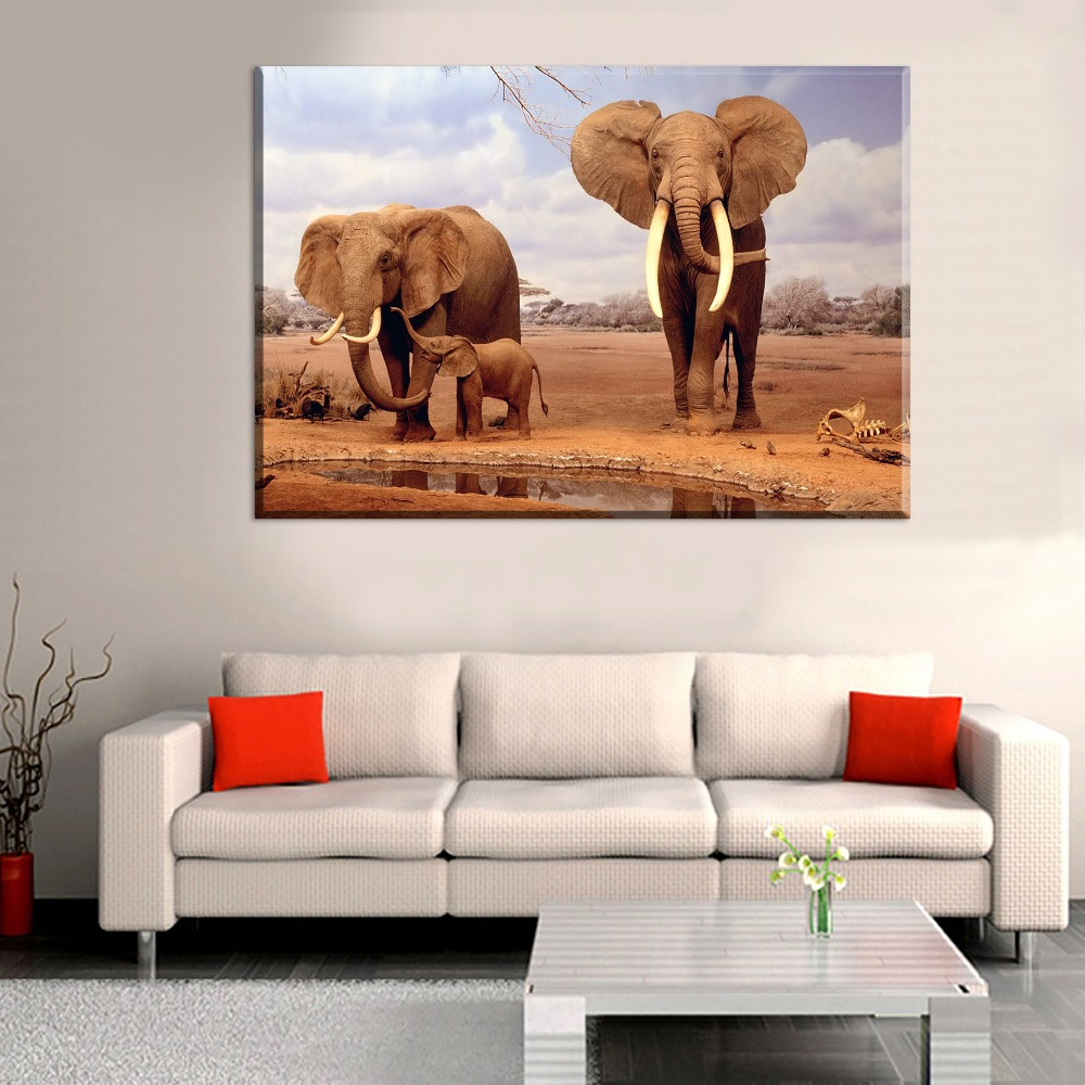 Canvas HD Printing Modern Painting Wall Art Picture 1 Panel Animal African Elephant Poster For Living Room Home Decorative Draw african elephant