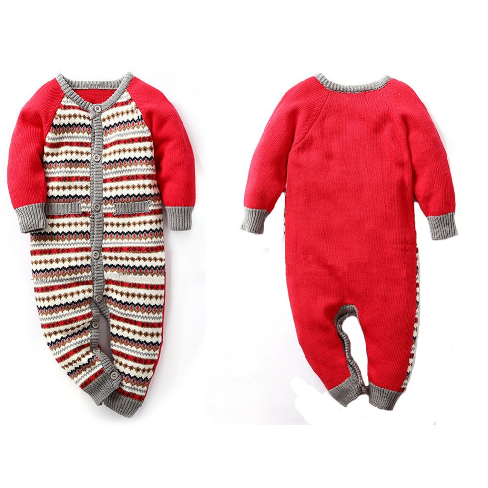 0bb25453eae Infant Romper Baby Snowsuit Striped Jacquard Knitting Coveralls Winter  Rompers Children Winter Jumpsuit One Piece Suits-in Rompers from Mother   Kids  on ...
