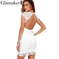 Glamaker Elegant White Lace Women Dress Sexy Back Hollow Out Casual Dress Autumn Short Sleeve Fashion
