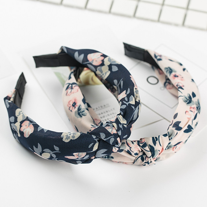 Women Hairband Flower Printed Knot Wide Headbands Girls Floral Corss Hairbands Fabric Bow Knot Headwear Hair Accessories