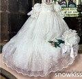 Niña del Vintage de los muchachos de encaje blanco / marfil vestidos primera comunión vestido de bautizo bautismo con capó