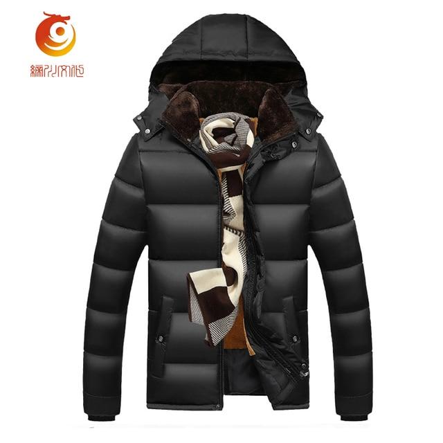 Parka con capucha de Los Hombres de Moda Chaquetas de Invierno Abrigos de Cremallera Al Aire Libre Caliente Grueso Abrigo de Gran Tamaño Chaqueta de Invierno de Los Hombres de Alta Calidad